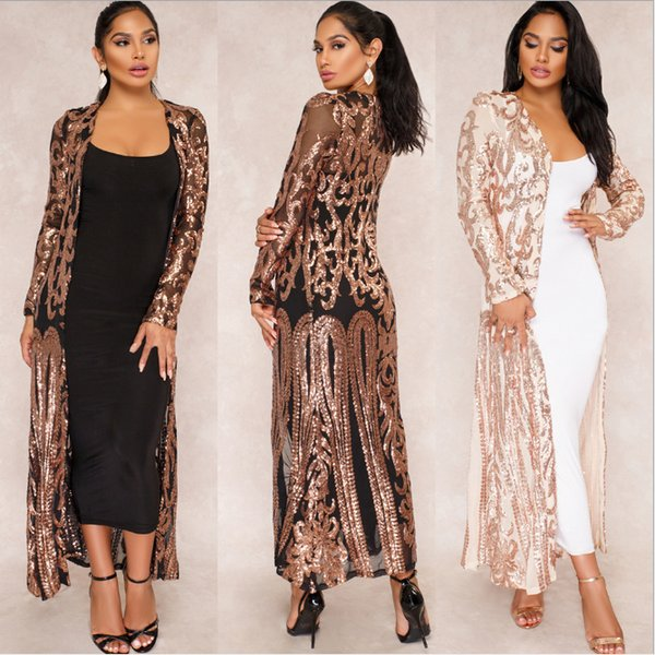 Foreverfad 2018 Hot sales new summer women's elegant long sleeve sequin embroidery long cover up lady's dresses 223