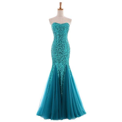 Sequined Strapless Royal Blue Mermaid Prom Dresses 2019 Lace Up Sparkly Sequined Long Formal Evening Gowns Cheap Vintage Party Wear