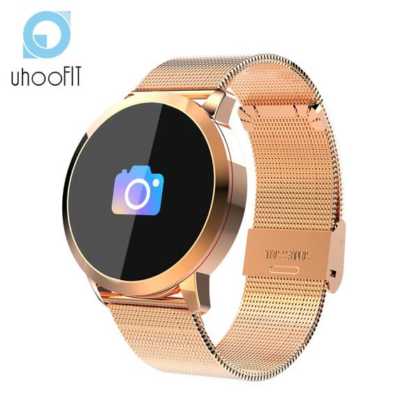Pantalla UHOOFIT Q8 color Ajustes del reloj mujeres de los hombres pulsera impermeable Deporte Rastreador de fitness ritmo cardíaco pulsera para Android