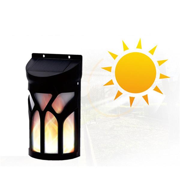 66 LED Lampada da parete solare IP65 Impermeabile 3 modalità Flickering Flame Light per la decorazione Landscape Pathway Courtyard Outdoor Garden