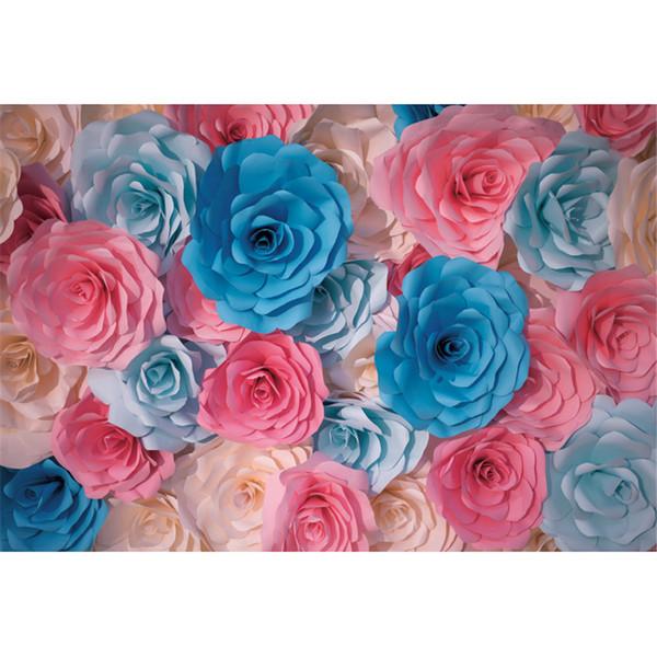 Digital Printed Pink Blue Cream 3D Paper Flowers Photography Backdrops Vinyl Kids Children Photo Studio Portrait Backgrounds