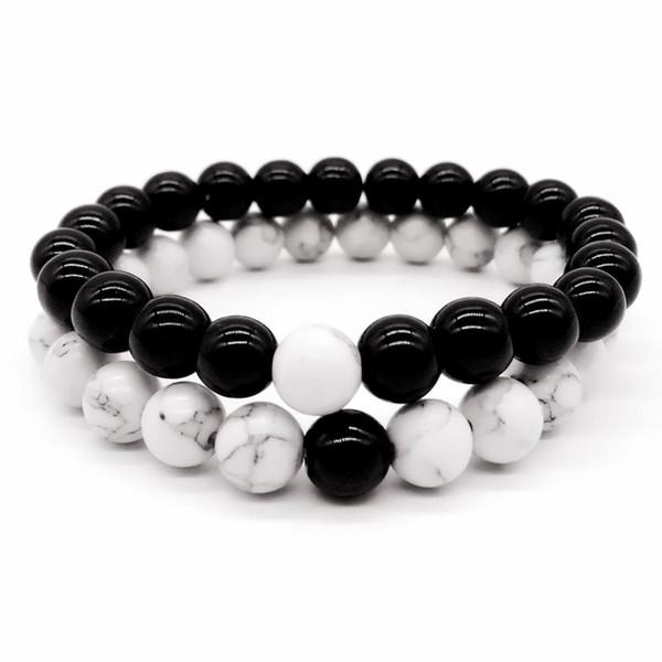 Natural Stone Black Agate Beads Bracciale fatto a mano 8MM Stretch bianco nero turchese Bracciali per le donne degli uomini