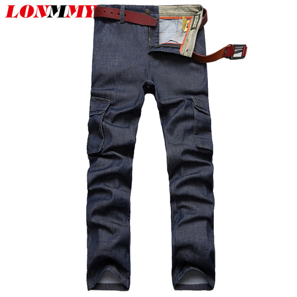 LONMMY Cargo pants men trousers Casual jeans for men More pockets 65% Cotton Straight Denim mens jeans Army style pants Blue