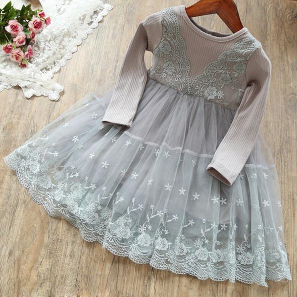 Girls Spring Autumn dress Kids Princess Tutu Ruffles Party Dress Candy Pink Gray 2 Colors Dress for 1-7years