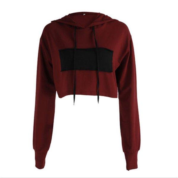 2017 Herbst Frauen Beiläufige Lose Hoodies Langarm Crop Top O Neck Sexy Sweatshirt Weinrot und Schwarz Patchwork Pullover