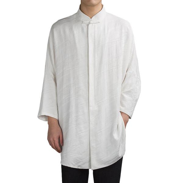 156dad6bdaf89 2018 Chinese style linen men s jacquard long section men s long sleeve  lining Arab casual shirt high quality brand dress shirt
