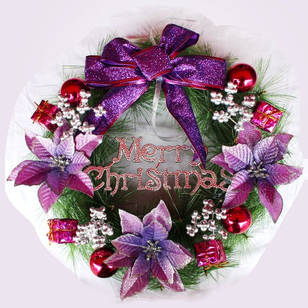 Flower Christmas 30CM Christmas Wreath Door Curtain Hanging Ornaments Xmas Flower Props For Christmas Tree Party Home Deco