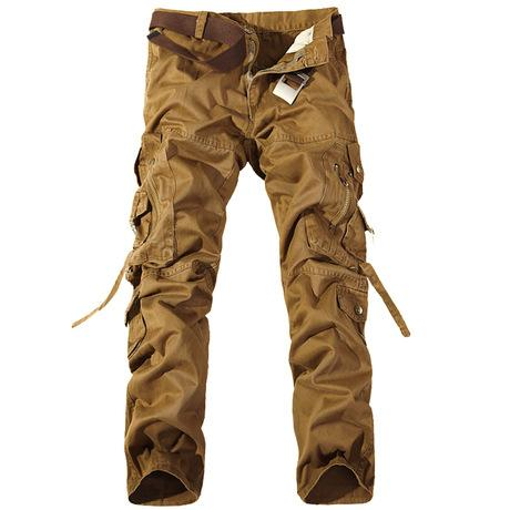 Mens Pants With Many Pockets Black Khaki Cotton Loose Cargo Pants Men Casual Trousers Plus Size Baggy Joger Worker Male