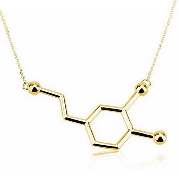 Wholesale 10Pcs New Dainty Chemistry Element Pendants Dopamine Molecule Clavicle Necklaces Mix Color Choler Chain Women Jewelry