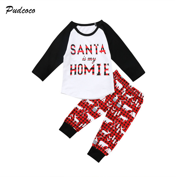 2017 Christmas Toddler Kids Boy Girl Xmas Clothes Santa is My HOMIE Long Sleeve T Shirt Tops+Deer Pant 2PCS Outfits Clothing Set