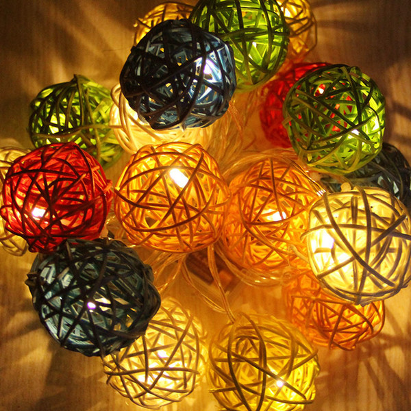 3Meters 20Lights Colorful Rattan Ball Battery Box Led String Lights New Year Christmas Decorations Christmas Ornaments For Home D18110903