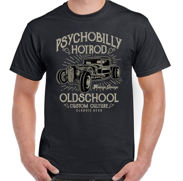 Psychobilly Hot Rod Mens Classic American Car T-Shirt Hotrod