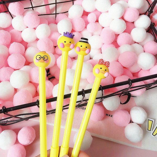 Japanese and Korean cartoon cute creative yellow duckling neutral pen blush duck office stationery student pen