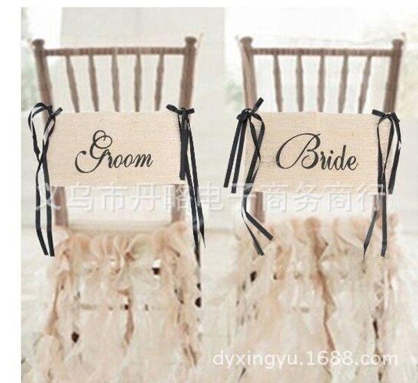 Gelin Damat Sandalye Sashes, 39X21cm, Çuval Bezi
