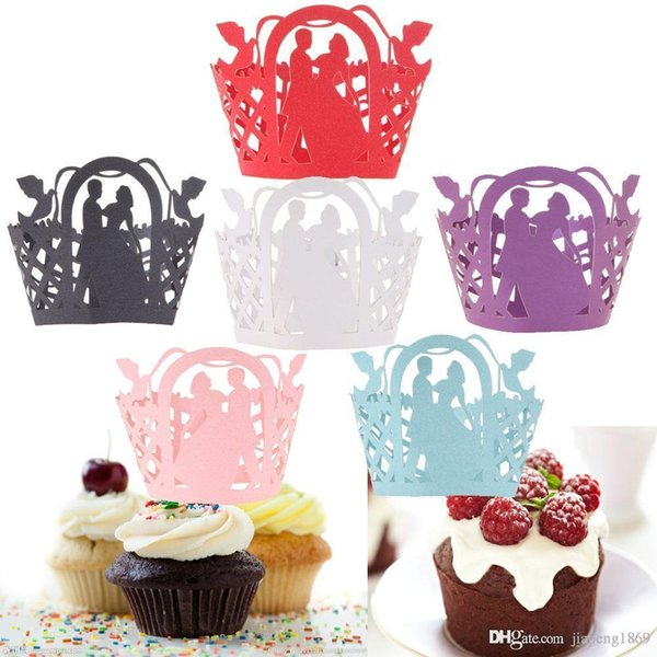 12Pcs/set Wedding Birthday Filigree Vine Cupcake Wrappers Wraps Wedding Birthday Party Baby Shower Cases for Mariage Cream/Red