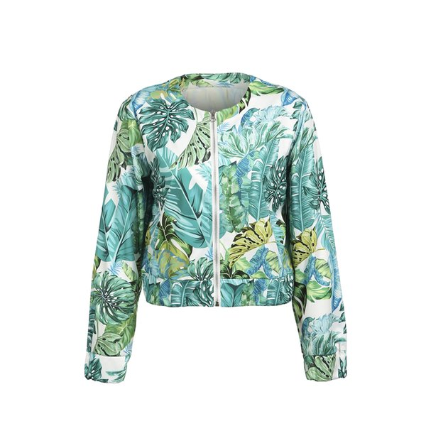 Ladies Casual Zip Up Pocket Jacket Outwear Tops Women Autumn Long Sleeve Floral Baseball Coats