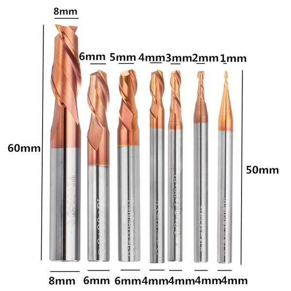 1-8mm 2 Flutes Tungsten Carbide End Mill Cutter HRC55 AlTiN Coating CNC End Mill Tool