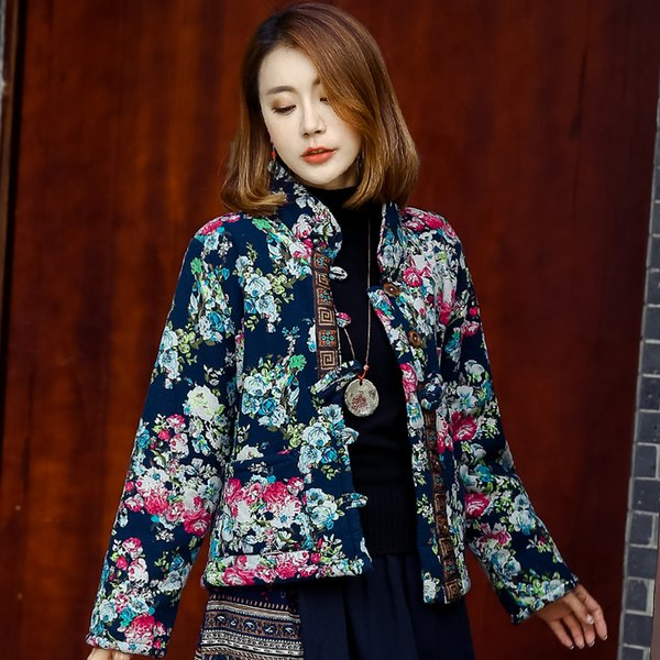 Neue Mode Nationalen Stil Parkas Kleidung Frauen Herbst Winter Kurze Warme Baumwolle Leinen Kurze Dicke Baumwolle gefütterte Jacke Mäntel