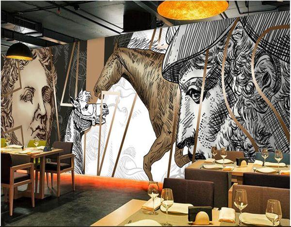 3d fondo de pantalla personalizado foto mural europeo y americano pintado a mano David estatua bar KTV murales de papel tapiz 3d paisaje tapiz de pared 3d