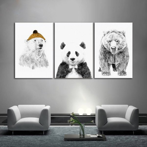 Black and White Nordic Minimalist Polar Bear Picture Unframed Canvas Painting for Living Room Home Decoration Wall Art Poster and Prints