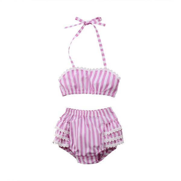 2018 Summer Hot Sell Baby girls Striped Lace Swimsuit Kids Bikini Swimwear girls Bikinis children Clothing Z11