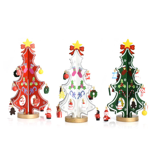 Christmas Ornaments Creative Table Decoration DIY Christmas Kids Gift 3D three-dimensional wooden mini-Christmas Tree Bar Decor