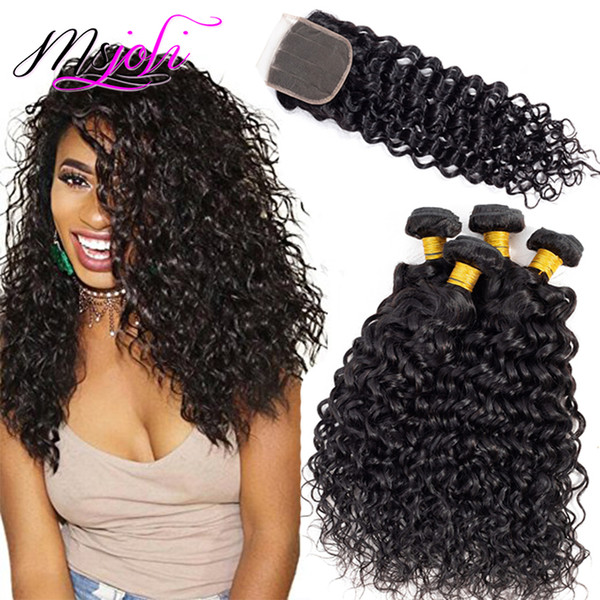 Brazilian Virgin Hair Water Wave Lace Closure with Bundles 9A Human Hair Weave Bundles Wet and Wavy 5Pcs/lot 4 Bundles with Closure