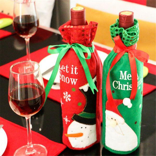 1PC Christmas Decoration for Home Santa Claus Wine Bottle Cover Bag Santa Sack Decorat Dinner Table Decoration Home Party Decors D18110903