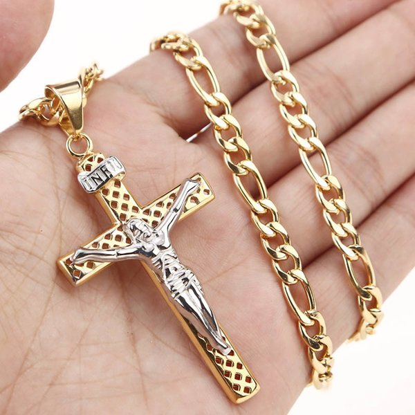 Witaya Jesus Cross Pendant Necklace Gold Chain Stainless Steel Hollow Religious Cross Pendants & Necklaces for Men Jewelry Y1891709