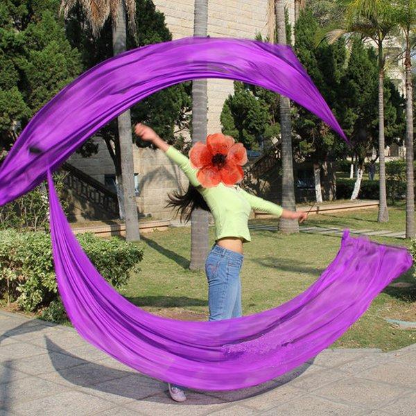 New Arrival Belly Dance Silk Veil Poi Streamer Poi 1pair= 2pcs silk veil + 2pcs poi-chain-ball flowy S/M/L/XL