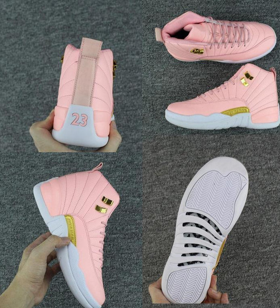 2018 New GS Pink Lemonade 12 Women Kids Basketball Shoes Pink Lemonade 12s Womens Kids Trainers Zapatos Sneakers Size 36-40 Free Shipping