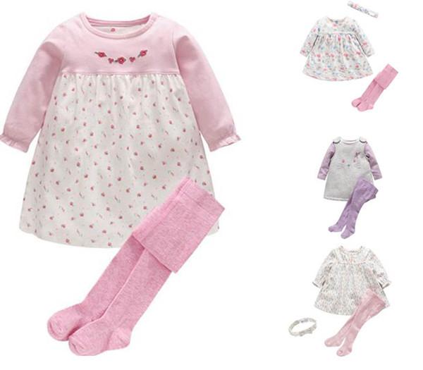 girls dresses long sleeve Princess dress flower design girl dres + leggings soft girl dress 2 pcs sets