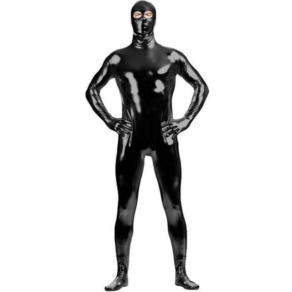 4aa6c7bb8ea Adult Eyes Open Black Zentai Black Shiny Metallic Catsuit Costume Lycra  Spandex Zentai Unique Full Body Suit