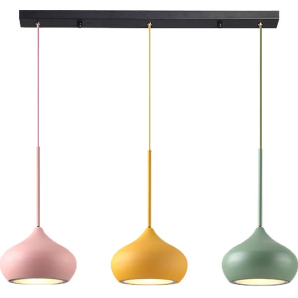Nordic post modern LED pendant lamp colorful macaron 3 head combo aluminum lampshade hanging lamp round kids room foyer bedroom light