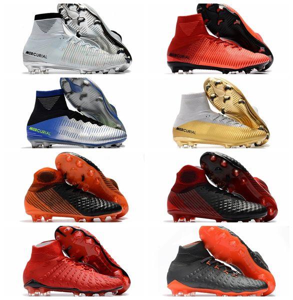 2018 cr7 soccer cleats Mercurial Superfly cheapest soccer shoes Hypervenom Phantom III mens Crampons de football boots magista obra Blackout
