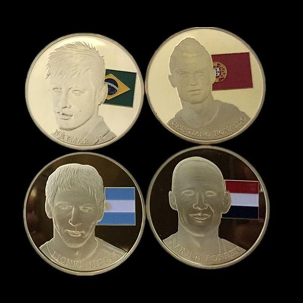 The famous four football stars Messi, Robben, Neymar, Ronaldo gold plated souvenir coin ,4 Pcs/lot. FREE SHIPPING