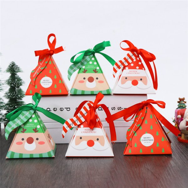 (50 pieces/lot) Merry Christmas Pyramid Santa Paper Box Christmas Tree Elk Candy Box Chocolate Boxes Xmas Party Decoration B064