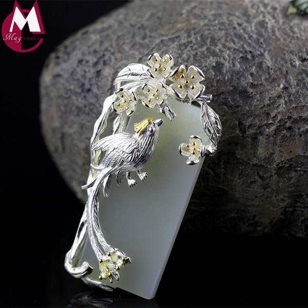 Diseño Original Madre Regalos CZ Afortunado Animal Urraca Collar Colgante Con Jade Natural Blanco Hecho A Mano Joyería de Hoja de La Flor SP28