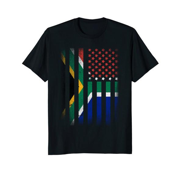 Camiseta sudafricana de la bandera americana Camiseta sudadera con capucha sudadera con capucha para hombre de Sudáfrica Camisetas básicas
