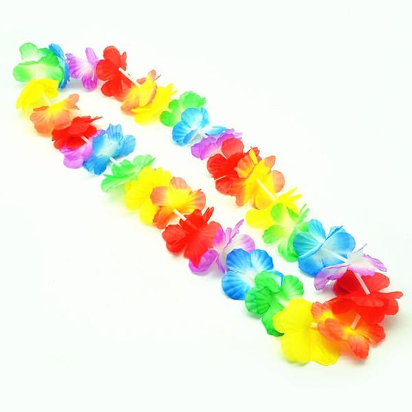 wholesale hot 500pcs Garland Necklace Hawaiian leis Colorful Fancy Dress Party Hawaii Beach Fun Party Supplies