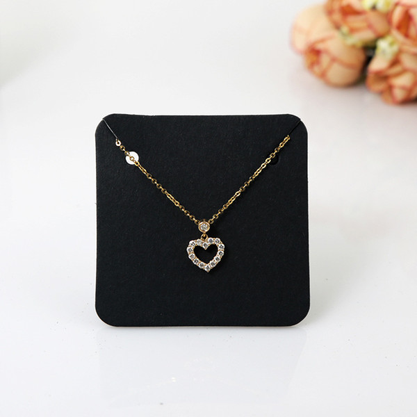 5*5cm Necklace Display Cards Black White Kraft Paper Blank Necklace Cards Jewelry Classic Wedding Jewelry Display Card Accept Custom Logo
