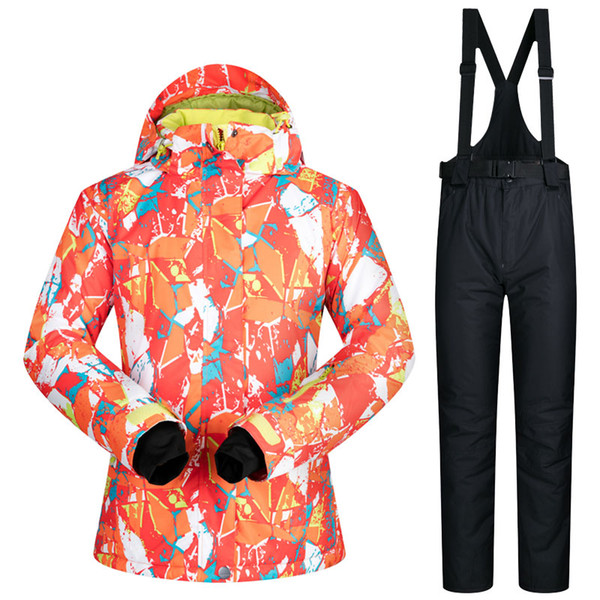 Snow Skiing Suit For Women Water Windroof Skiing jacket Snow Bib Set Female Ski Boarding Clothing Thermal Minus -30 Degrees Warm