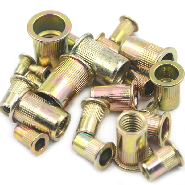 10 Set Mix 7 Sizes Rivet Nut Flat Head Threaded Multi Blind Rivnut Insert Nutsert Steel (Total 70pcs)