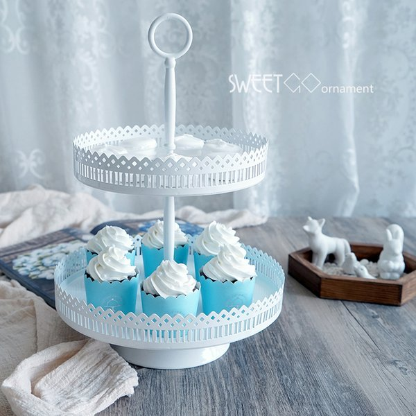 Metal Hollow Lace White 2/3 Layers Cake Stands Cupcake Display Plates Wedding Birthday Cake Shop Decoration Foot Dessert Tray