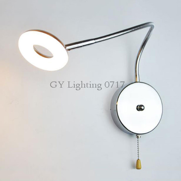 2018 New 5W LED wall lamp with pull chain switch L35cm hose goose neck led wall lighting modern chrome bedroom bathroom sconces