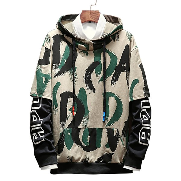 2018 Autumn Fashion Color Striped Print Hoodies Men Casual Camouflage Pullovers Mens Clothing Trend Mens Hooded Sweatshirts 5XL M3-090