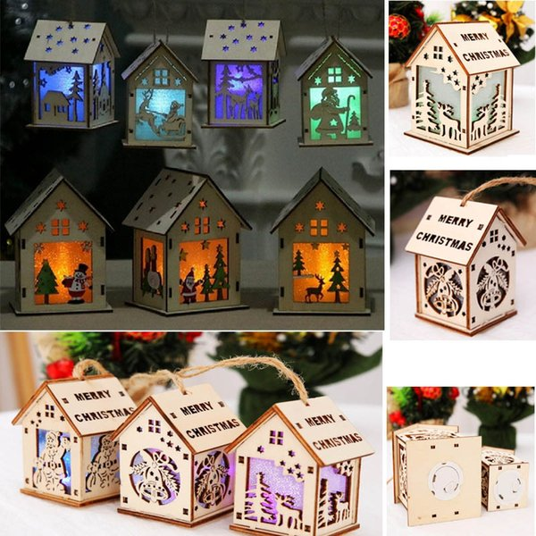 Led Christmas Wood House Hanging Decoration For Santa Claus Elk Reindeer Bell Christmas Tree Hanging Ornaments Decor Xmas Gift HH7-1704