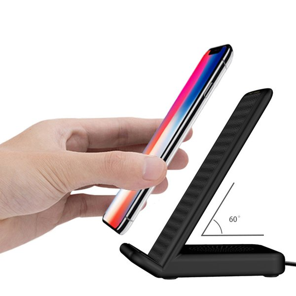 Cell Phone Qi Wireless Chargers Fashion Black USB Fast Charging Stand Pad Protable Mobile Universal Charger