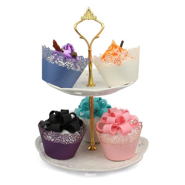 wholesale 120pcs Rose Cupcake Wrapper Filigree Vine Wraps Collars Cups Wedding Cake Decoration Girl Birthday Baby Shower