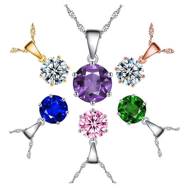 6 Colors Korean Women Silver Locket Necklace Luxury 8mm Gemstone Pendant Necklaces Fashion Crystal Diamond Necklace Snap Jewelry